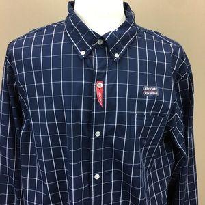 Chaps Shirts - Chaps Navy Check Button Down Top